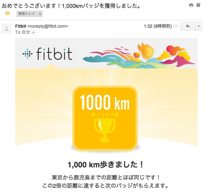 Fitbitをつけて累計1000km歩いたようです
